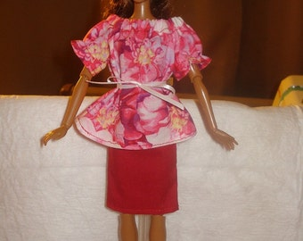 Bright pink floral print Peasant top and red skirt set for Fashion Dolls - ed316