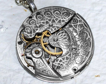 Steampunk Necklace: Spectacular 113 Yrs Old Antique Pocket Watch Movement Silver GUILLOCHE ETCHED Men Steampunk Necklace Valentines Day Gift
