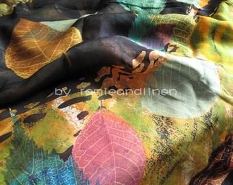 """Digital Printing autumn leaves 100% silk Chiffon fabric, half yard, 18"""" by 54"""" wide"""