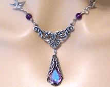 Art Nouveau Purple Bridesmaids Necklace Victorian Swarovski Vitrail Light Purple Crystal Necklace Amethyst Birds Bridal Wedding Jewelry