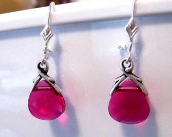 Red Crystal Earrings: Ruby Red Swarovski Crystal Earrings - Bridal Wedding Jewelry, Bridesmaids Gift, Briolette, Vine