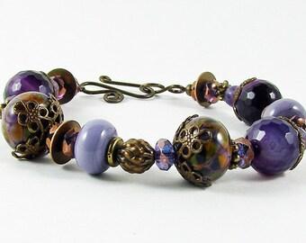 Purple Lampwork Amethyst Jade Glass Antique Brass Bracelet