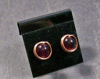 Garnet & Copper Post Earrings