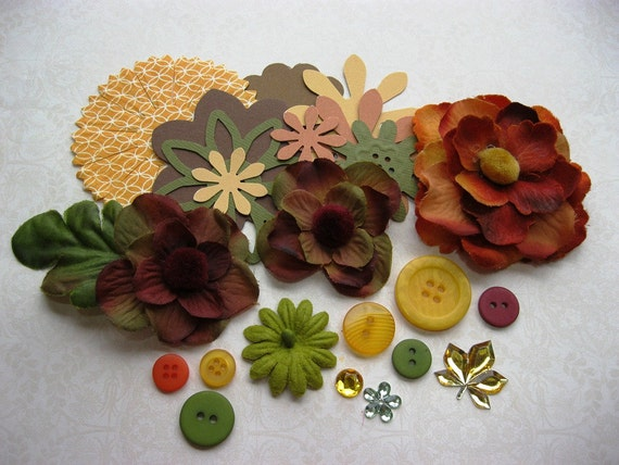 On Sale Fall Flowers and Leaves Embellishment Kit for Scrapbooking Cards Mini Albums and Papercrafts