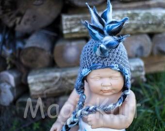 061d Mohawk Baby boy. Newborn size, gray blue, white, black earflap punk hat. Photo prop.
