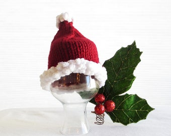 Santa Baby Hat - Soft Hand Knit - Baby size - Ready to Ship