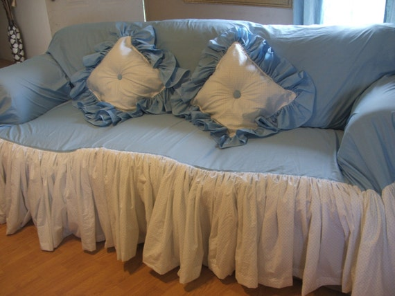Items Similar To Shabby Chic Sofa Slipcover Throw Small On Etsy