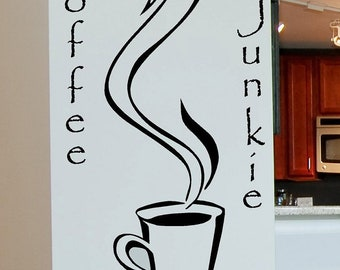 Coffee Junkie Vinyl Lettering wall words quotes graphics decals Art Home decor itswritteninvinyl