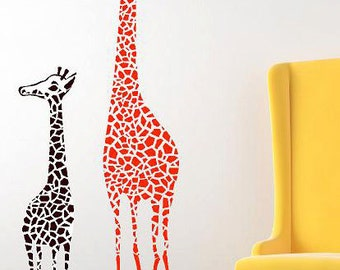 Giraffe Mother And Baby Vinyl Lettering  animal Decal wall words graphics Home decor bedroom  itswritteninvinyl