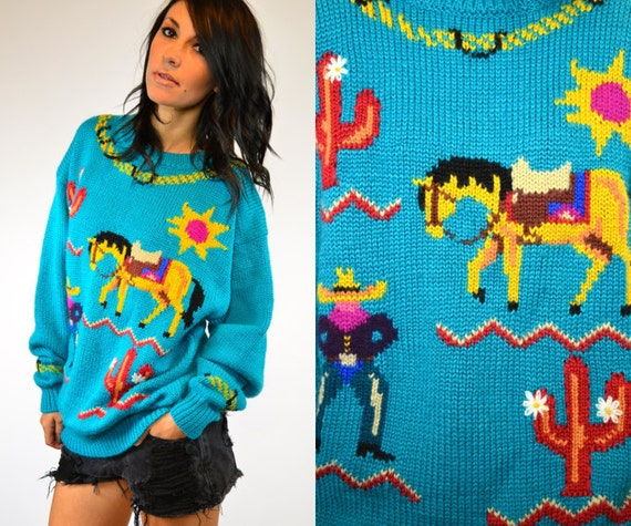 pixelated DESERT turquoise SOUTHWESTERN sweater JUMPER, extra small-medium