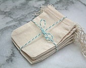 Muslin favor bags, 2.5 x 4. Set of 25.  Unprinted natural cotton double drawstring bags.  Party favor or gift bags.