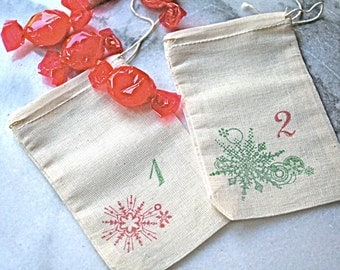 Advent calendar set.  Muslin favor bags, 3x5.  Set of 24.  Rustic shabby chic decoration for the holidays.