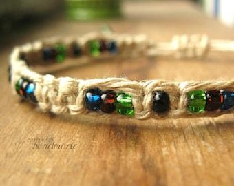 Knotted Hemp Bracelet, Blue Green Brown Beaded Macrame