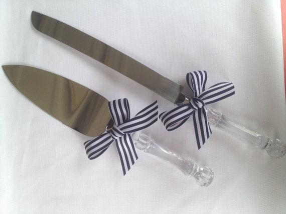 nautical wedding cake knife and cake server set ribbon clear. Black Bedroom Furniture Sets. Home Design Ideas