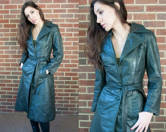 70s Vintage Forest Green Leather Long Jacket (XS)