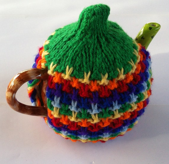 Rainbows and Unicorn poop: red, orange, yellow, green, blue, indigo and violet tea cozy