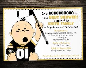 Sports Hockey Tailgate Printable Baby Shower or Birthday Invitation -- ANY TEAM - NHL