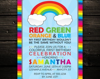 Colorful Rainbow Birthday Party Invitation -- PRINT YOUR OWN -- Any Color