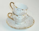 Vintage Minature Demitasse Cups and Saucers Porcelain Gold Painted