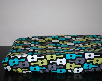 Baby Changing Pad Cover l Fitted Crib Sheet l Michael Miller l Groovy Guitars Lagoon l Baby Boy Bedding l Nursery Bedding l Nursery Decor l