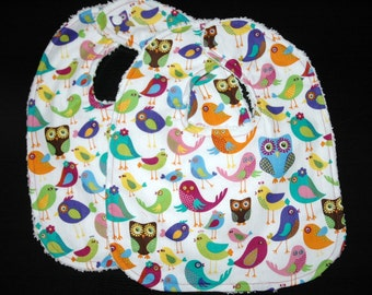 Baby/Toddler Girl Bibs, Set of 2, Birds and Owls in Purple, Pink and Turqouise with White Chenille. REadY To ShIP