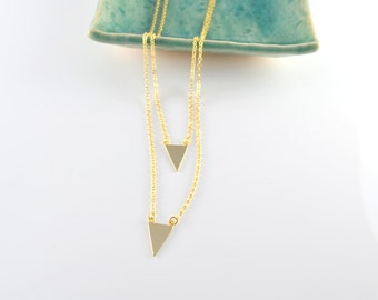 Gold double chain double triangle statement necklace G2164