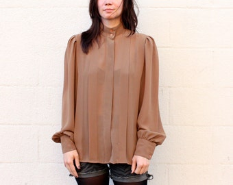 70s Pleated Brown Blouse SIZE MEDIUM