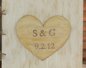 Personalized Rustic Shabby Chic Wood Guest Book for your Wedding - Wood Guest Sign-In Book with Huge Personalized Heart - Go Rustic Designs