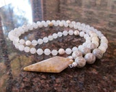 Snow Queen - Fossil Coral, Moonstone, White Jade and Magnesite Natural Crystal Chakra Necklace