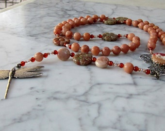 Dragonfly Fairy Angel Rosary - Peach Aventurine, Epidot, Sunstone and Carnelian Natural Stone OOAK Sacral Hara Chakra Necklace