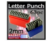 Mazbot 63pc Steel letter punching set 2mm