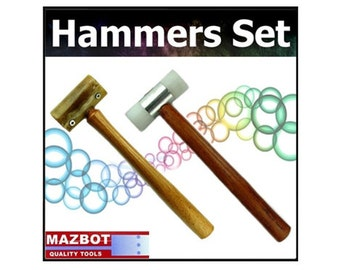 """2pc Mazbot 11"""" Rawhide Mallet and Nylon Head Hammer"""