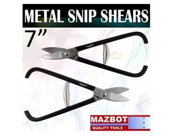 2p Mazbot 7 inch Metal Snip Shears STRAIGHT & CURVED Jewelry Tool Beading Stainless