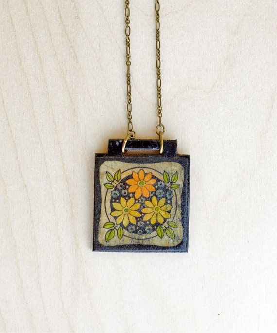 Wood Pendant Necklace Under 25 Vintage Flower Bohemian Jewelry Gift For Her