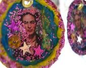 Frida Kahlo Bottle Cap Earrings