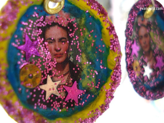 Frida Kahlo Bottle Cap Earrings