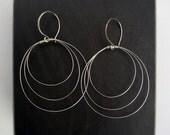 Silver Wire Earring Wire Jewelry Circles Earring Wire Wrapped Hoop Dangle Minimal Lightweight Earring