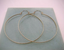 """3.25"""" Gold Hoops Extra Large Gold Hinged Hoop Earrings Long Wire Earring Hammered Wire Jewelry Gold Hoops 1.5"""", 2"""", 2.5"""", 3"""", 3.25"""""""