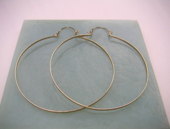 """Big Gold Hoops Extra Large Hammered Gold Hinged Hoops 3.25"""" Gold Statement Earring Shoulder Duster Tribal Jewelry Wire Jewelry"""