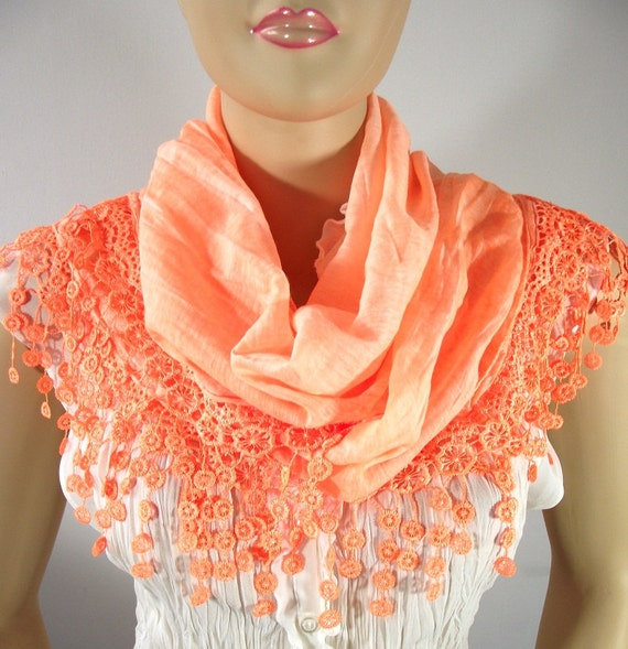 Peach Scarf...lace Edge Scarf....Pashmina Shawl....Fringed Scarf....Cotton scarf Cowl...perfect for bridesmaid gift
