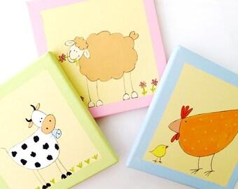 Farm Wall art for Babies and kids room- Farm animals- Original paintings on canvas- set of 3, children decor, kids wall art