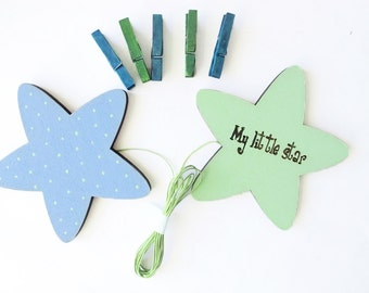 Baby Boy shower decoration, Children's Artwork display hanger, Green and Blue stars - kids wall art