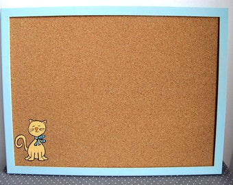 decorative memo cork board cat children orange and blue cat hand painted message board bulletin board kids cork board - Decorative Cork Boards
