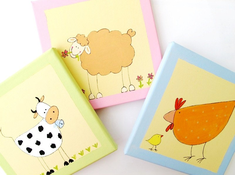 Childrens Wall Decor Canvas : Farm wall art for babies and kids room animals original