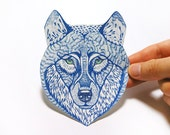 Blue Wolf Face wild animal sticker, 100% waterproof vinyl label.