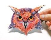 Owla bird sticker, 100% waterproof vinyl label.