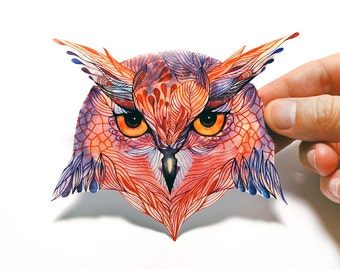 Owla bird sticker, 100% waterproof vinyl label.