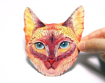 "Blue eyed cat, ""Koshka (Kitty)"" pet sticker, 100% waterproof vinyl label."