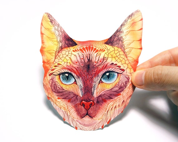 "Blue eyed cat, ""Koshka (Kitty)"" pet sticker, 100% waterproof vinyl label."