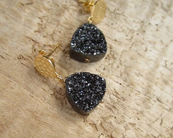 Druzy Earrings Black Drusy Quartz 24K Gold Vermeil